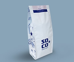 white flat bottom bag for ground coffee