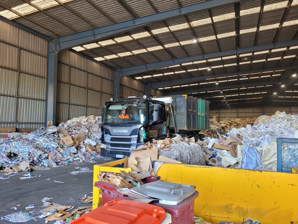 O F Resource Recovery- Truck leaving the carton and paper disposal warehouse (2)